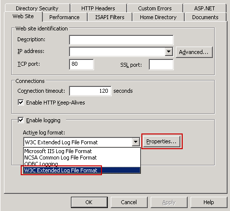 Select W3C Extended Log File Format