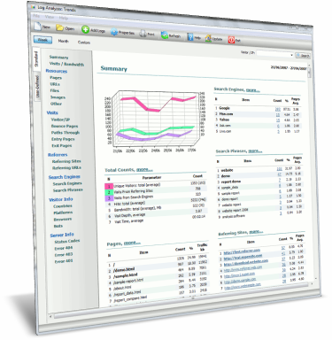 Log analyzer: Trends: standalone web log analyzer software. Generate reports for daily, weekly or monthly changes in statistics: unique visitors, visited pages, referring sites, search engines, key phrases, etc. Detailed statistics on one screen!